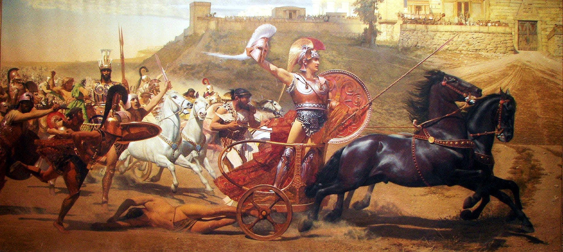 Achilles' most notable feat during the Trojan War was the slaying of the Trojan hero Hector outside the gates of Troy.