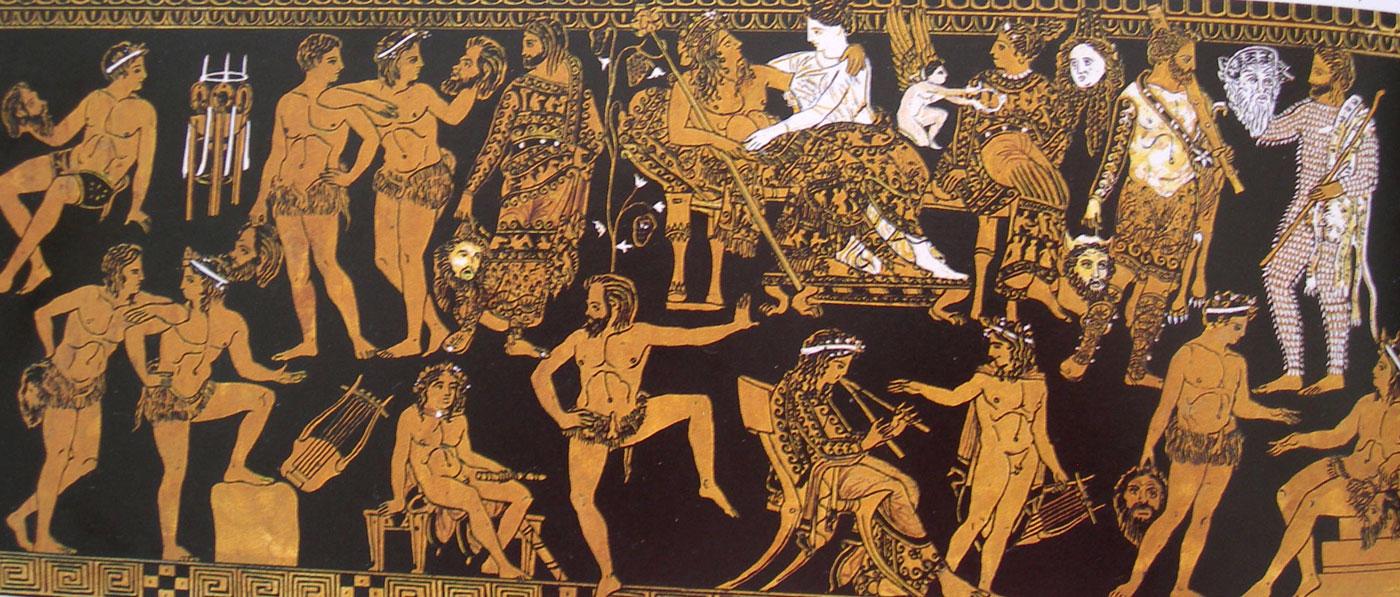 Greek Cast, Troop Prepares for Dionysian Satyr Play