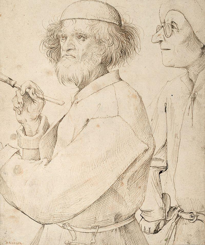 The Painter and The Connoisseur, Pieter Bruegel the Elder (self-portrait, questionable)