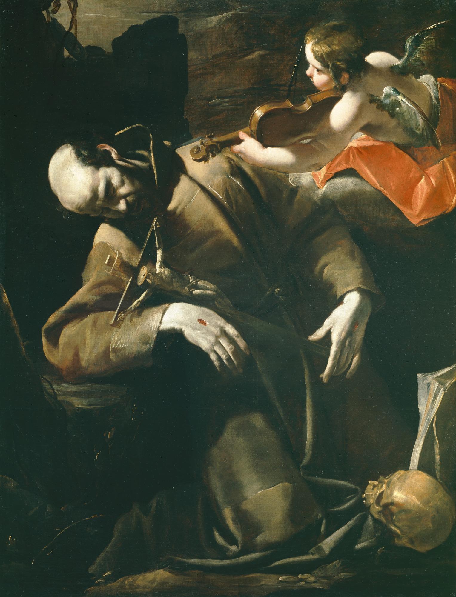 St. Francis in Ecstasy before Cherub with Violin, Gioacchino Assereto