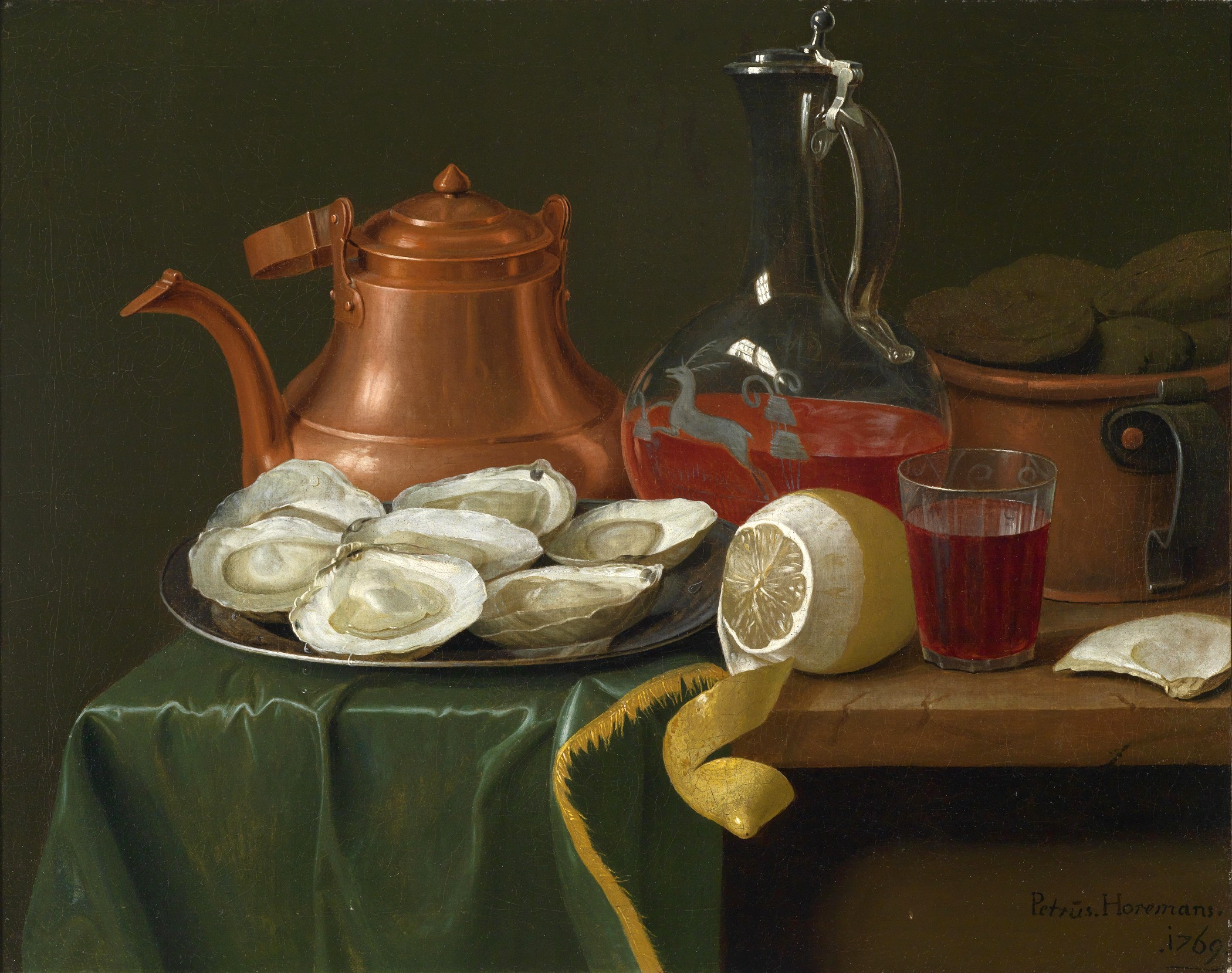 A Still Life with Oysters, Lemon, a Carafe of Wine and a Copper Jug, Peter Jacob Horemans