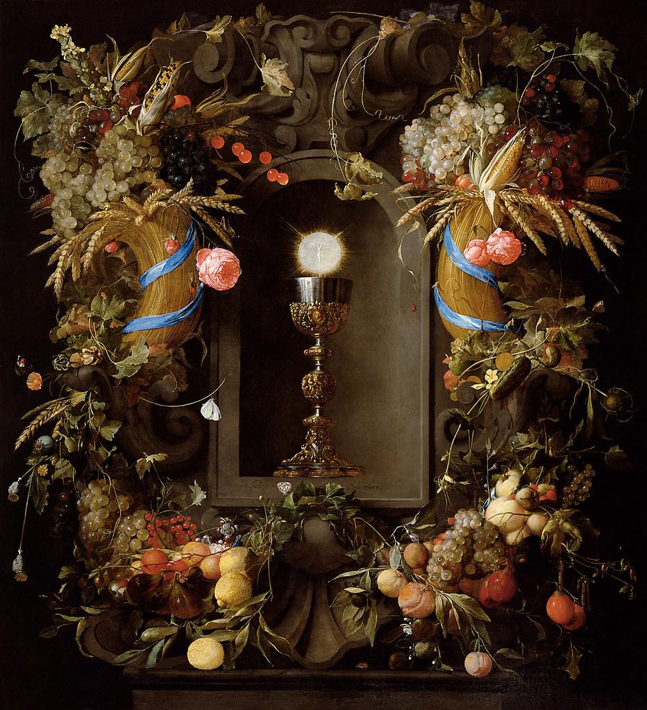 Eucharist In Fruit Wreath, Jan Davidsz de Heem