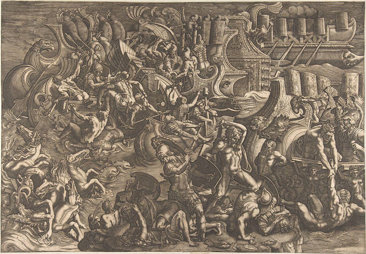 The Trojans Repulsing the Greeks, Giovanni Battista Scultori